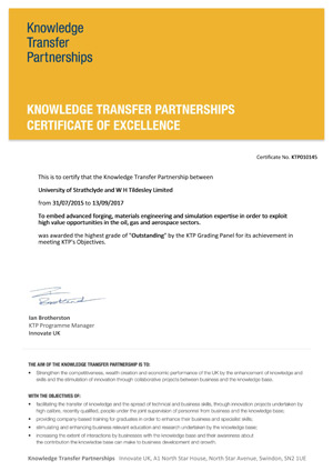 Knowledge Transfer Partnerships (KTP) - Certificate of Excellence