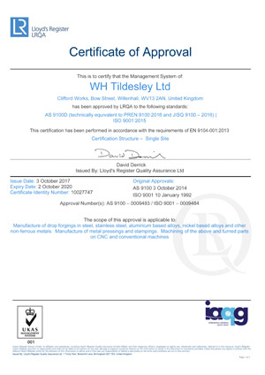 LRQA AS9100D Approval - Aerospace