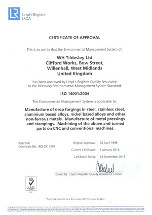 LRQA ISO 14001 Approval - Environmental